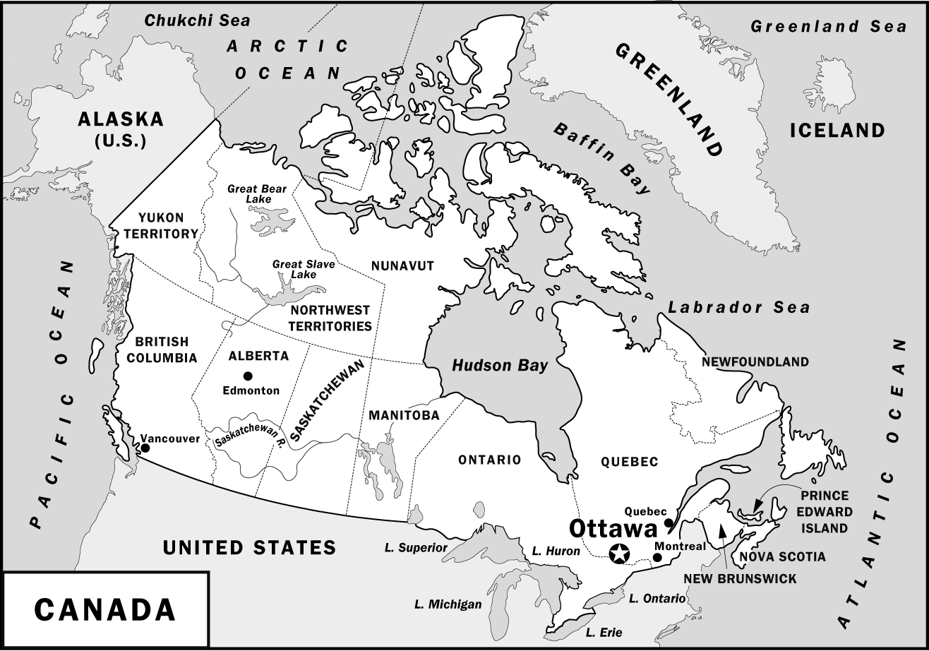 Map of present day Canada