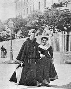 Eleonora Duse (a) and Matilde Serao (w) on vacation in St. Moritz, 1895. PC