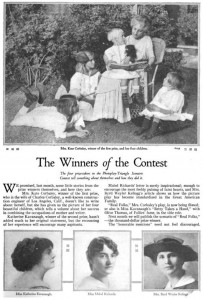 "Kate Corbaley (w), with children ""The Winners of the Contest"" Photoplay. Jan. 1918. p. 103. PD"