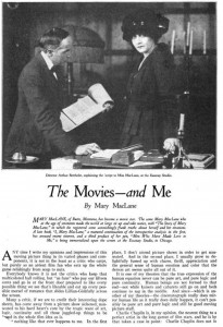 Mary MacLane (w/a) Photoplay. Jan. 1918, p. 24. PD