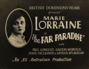 Isabel McDonagh (a) as Marie Lorraine in advertisement for McDonagh Sisters The Far Paradise (1928). AUC