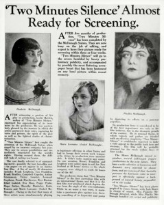 "McDonagh Sisters ""Two Minutes of Silence"" 1933 article. AUC"