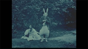 May Clark (a) and Margaret Hepworth (a) (as White Rabbit) in (i) Alice in Wonderland (/i) (1903). BFI