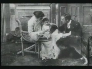Margaret Hepworth, Barbara Hepworth, Blair, and Cecil Hepworth in (i) Rescued by Rover (/i) (1905).
