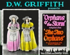 Advertising slide Orphans of the Storm, Lillian (a/d/w) and Dorothy Gish, 1923.