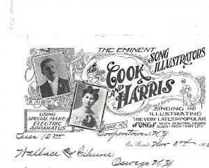 Advertisement for exhibitors Bert  and Fannie Cook.