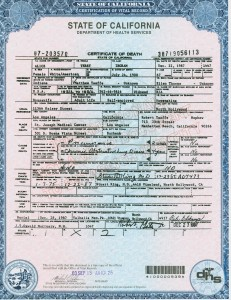 Alice Terry Ingram, death certificate. PC