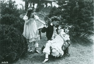 "Production still from ""Their One Love"" (1915), featuring Marion and Madeline Fairbanks (the Thanhouser twins). PCNH"