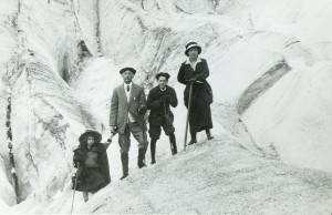 Edwin and Gertrude Thanhouser with their two children, Lloyd and Marie in the Swiss Alps, 1913. PCNH