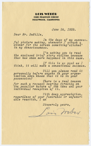 Letter from Lois Weber to Cecil B. DeMille, 1939. AMPAS