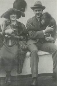 Martin and Osa Johnson (p/d/a/o)  with their pets, circa 1920. MOJSM