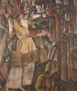 Portrait of Aleksandra Khokhlova by Aristarkh Lentulov  (1919).