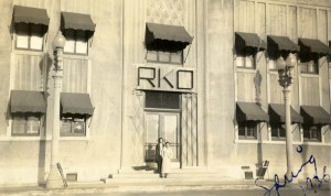 Esther Eng (d/w/p/o) and Wai Kim Fong (a) in front of RKO Studio in Hollywood, 1936. PC