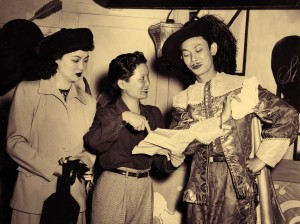 Esther Eng with Grandview actress Marianne Quon and actor Teng Pui, San Francisco, 1947. PC