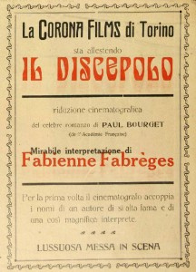 Announcement of the film Il discepolo (Corona Films IT 1917) starring Fabienne Fabrèges in Film (30 Sept. 1916): 2