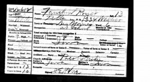 Scan of Fanchon Royer's (p) 1915 Iowa Census Card