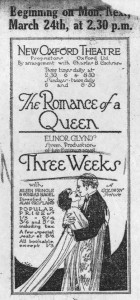 Newspaper advertisement for Three Weeks screened at a London cinema. The National Archive, UK