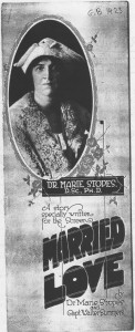 Married Love (1923) pressbook cover, Marie Stopes (w). BFI