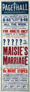 Poster for Maisie's Marriage (1923), Marie Stopes (w). National Archive, UK
