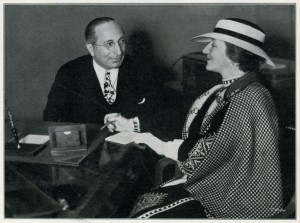 A photograph of Ray Lewis interviewing Louis B. Mayer reproduced from: Canadian Moving Picture Digest (25 May 1935).