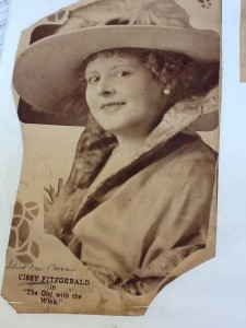 "Newspaper clipping, ""Cissy Fitzgerald in 'The Girl with the Wink.'"" NYPL"