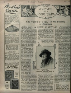 """She wasn't a 'Type' so she Became a Directress."" Maclean's Magazine (May 1, 1921): 64."