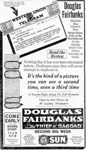 Omaha World Herald Thief of Bagdad ad, using Elizabeth Kern review.