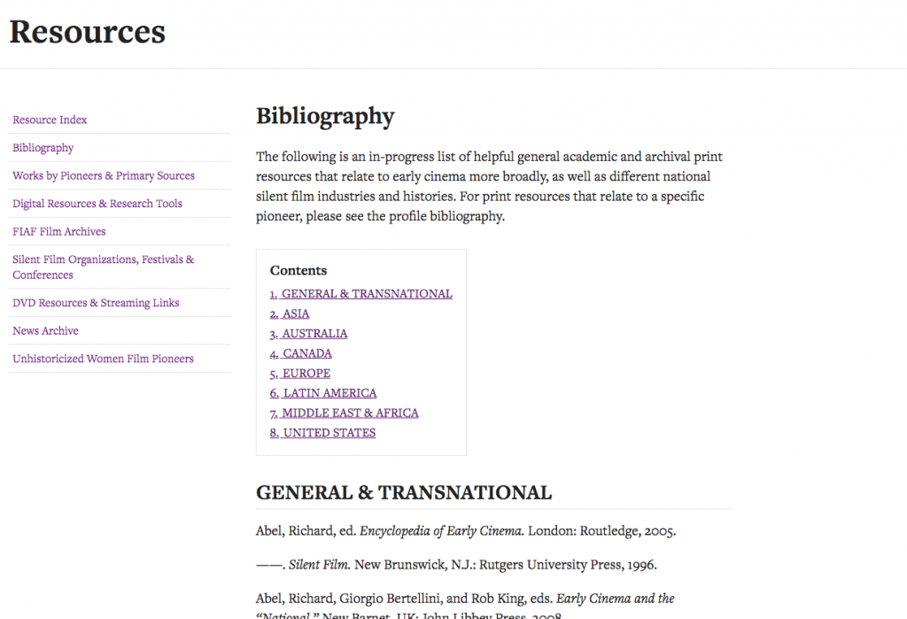 Screenshot of bibliographies on WFPP
