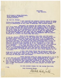 Letter from Maibelle Heikes Justice (w) to Selig, 1915, AMPAS