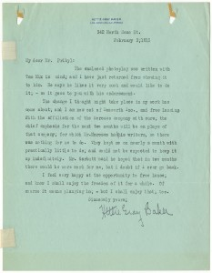 Letter from Hettie Gray Baker (e) to Mr. Pribyl, 1915 AMPAS