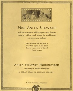 Anita Stewart (a/p) Reverse of Publicity Photo, Anita Stewart Productions, 1918. PC