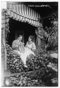 Mr. and Mrs. Sidney Drew (p/d/w/a) outside of their home, LoC