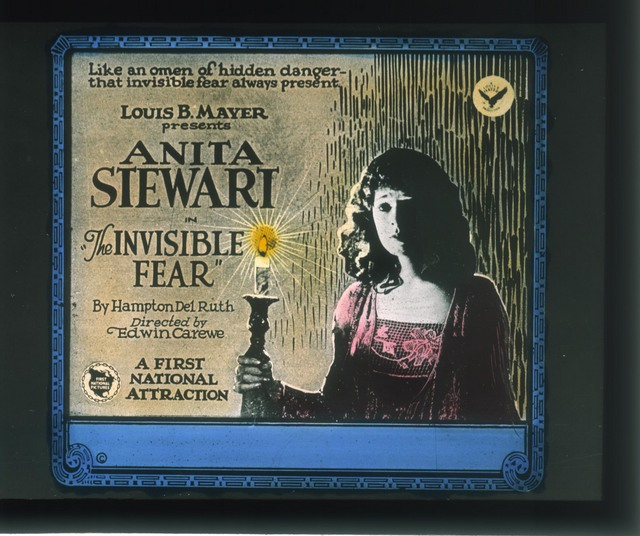 Advertising slide The Invisible Fear(First National, 1921). Anita Stewart (a/p) Madge Tyrone (w). PCYR