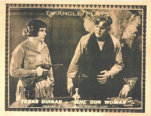 Texas Guinan (a) lobby card The Gun Woman(Triangle and Kay-Bee, 1918). PCCC
