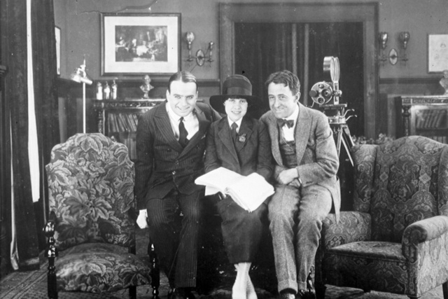 Anita Loos (p/w) on set w/ Douglas Fairbanks and John Emerson, PC
