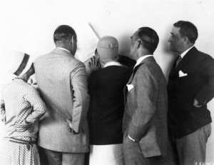 Ruth Taylor (a) signs contract for Gentlemen Prefer Blondes (1928), Anita Loos (w/p), Jesse Lasky, Hechtor Turnbull, John Emerson. PC