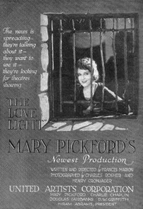 Advertising The Love Light (1921), Frances Marion (d/w), PC