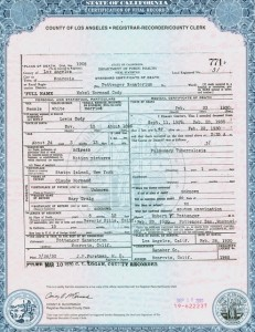 Mabel Normand (p/d/w/a) death certificate, PC