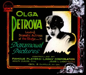 Slide announcing Olga Petrova's (w/a/p) contract with Paramount Pictures. PCJY